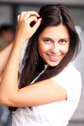 Happy young woman. outdoor portrait Stock Photos