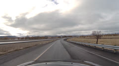 Driving POV - High Desert Freeway - Cloudy - Hwy 203 Merge to Interstate 84 S Stock Footage