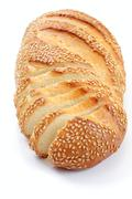 bread with a sesame, over white - stock photo