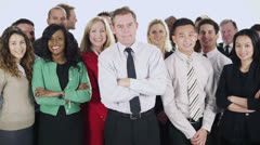 Happy, diverse group of business people isolated on white - stock footage