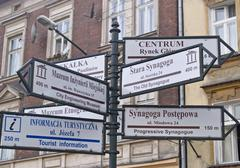 Guide signs in the street Stock Photos