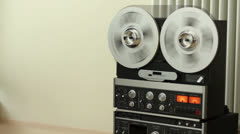 Retro Audio tape recorder rewind the tape HD Stock Footage