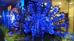 Time-lapse Karstadt Zeil galeria Shopping Window display at Zeil Frankfurt Stock Footage
