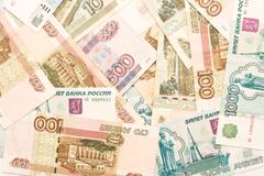 Money background - russian roubles. useful as texture Stock Photos