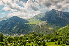 pyrenees mountain views from taull, catalonia, spain - stock photo