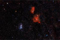 Heart and soul nebula with doulble cluster in cassiopeia Stock Photos