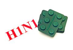 Swine flu h1n1 - closeup of green pills Stock Photos