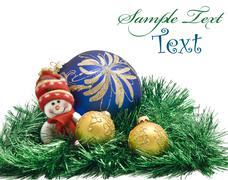 christmas card - plush toy with three colorful balls - stock photo