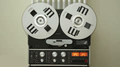 Retro Audio tape recorder rewind the tape, slow motion HD - stock footage