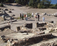 Kameiros ruins with people walking Stock Footage