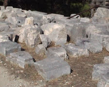 Kameiros broken stone ruins on the ground Stock Footage