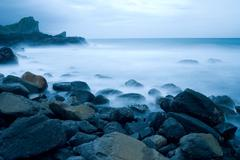 rocky seacoast, long time exposure, taiwan, east asia - stock photo
