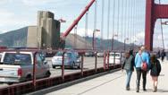 Tourists walking on Golden Gate Bridge San Francisco HD 5550 Stock Footage