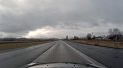 Driving POV - High Desert Freeway - Cloudy - Oregon Interstate 84 Southbound 5 Stock Footage