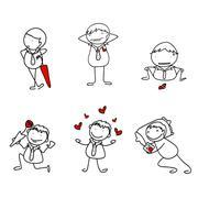 Skech design for boy loving action. Stock Illustration