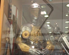 Medieval armour in shop window in Rhodes Old Town Stock Footage