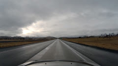 Driving POV - High Desert Freeway - Cloudy - Oregon Interstate 84 Southbound 6 Stock Footage
