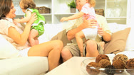 Caucasian Parents Young Daughters Home Fun Stock Footage