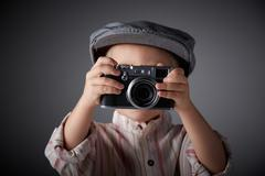 young press photographer - stock photo