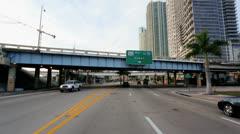 P.O.V. driving downtown Bayside, Miami, USA - stock footage