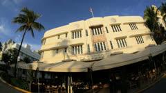 Restaurants on Ocean Drive Miami Art deco district, USA Stock Footage