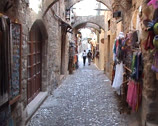Stock Video Footage of Narrow cobbled street with arches in Rhodes Old Town