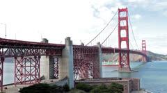 Golden Gate Bridge San Francisco cargo ship HD 0965 Stock Footage