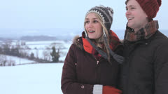 Head Shoulders Couple in Park Winter Day - stock footage