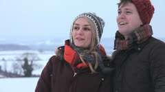 Head Shoulders Couple in Park Winter Day Stock Footage