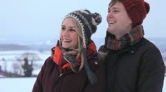 Portrait Caucasian Couple Winter Clothing Outdoors Snow Stock Footage