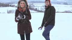 Couple Playing Snowballs Winter Park Stock Footage