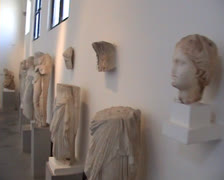 Stone statues in Museum in Rhodes Old Town Stock Footage