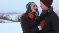 Portrait Caucasian Couple Enjoying Winter Walk Snow Stock Footage