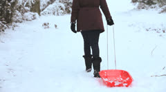 Girl Pulling Sled Snow Covered Hill Stock Footage