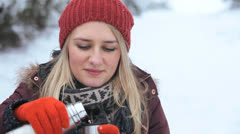 Close Up Young Caucasian Girl Keeping Warm Hot Drink Stock Footage