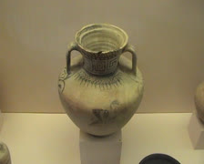 Large pot in display cabinet inside Museum in Rhodes Old Town Stock Footage