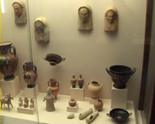 Ancient pots and ornaments in Museum in Rhodes Old Town Stock Footage