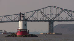Tarrytown Lighthouse and Tappan Zee Bridge 1 Stock Footage