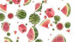 Falling Watermelons (ends on blue) Stock Footage