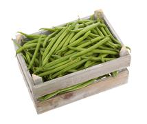 wooden crate with fresh green beans viewed from above - stock photo