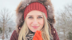 Close Up Caucasian Girl Winter Snow Keeping Warm Rubbing Hands Stock Footage