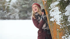 Young Girl Having Fun Snow Stock Footage