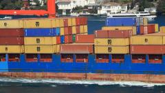 Cargo ship full of containers Stock Footage