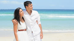 Young Caucasian Couple Standing Caribbean Beach Stock Footage