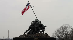 Iwo Jima Memorial Plane in background overcast day 30 FPS Stock Footage