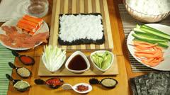 Avocado Sushi roll Stock Footage
