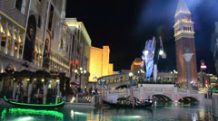 Las Vegas Venetian Hotel and Casino at night Stock Footage