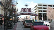 Reno Nevada town center welcome sign traffic fast timelapse HD 5277 Stock Footage