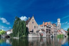 Belgium,old brugge canal Stock Photos