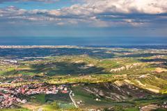 view from titano mountain at italian neighborhood and the sea - stock photo